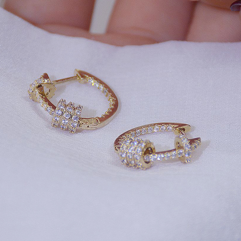 14k Real Gold Luxury Super Shine CZ Buckle Earrings High Quality Delicate AAA Zircon Circle Earring Jewelry Pendant Accessories