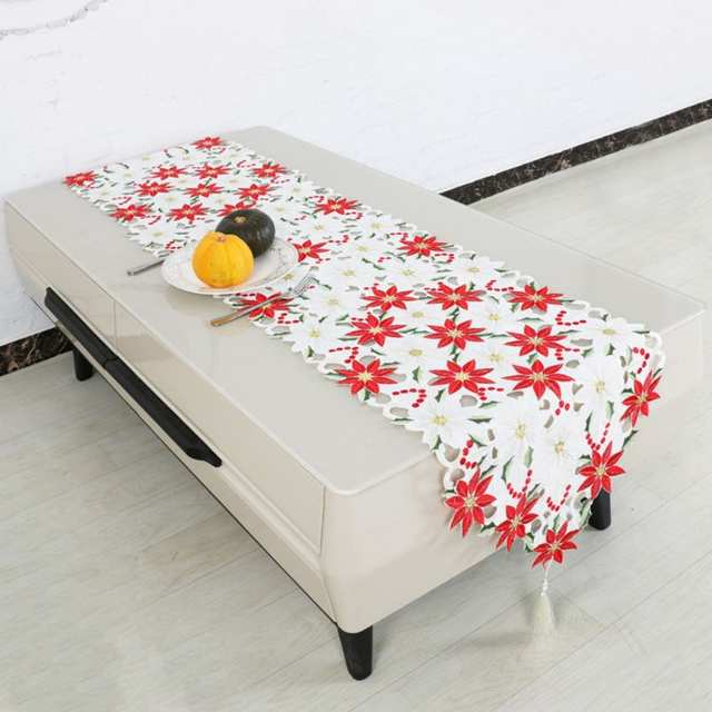 Wondrous Us 7 34 21 Off Christmas Embroidered Table Runners Poinsettia Holly Leaf Table Linens 16 X 70In On Aliexpress Caraccident5 Cool Chair Designs And Ideas Caraccident5Info