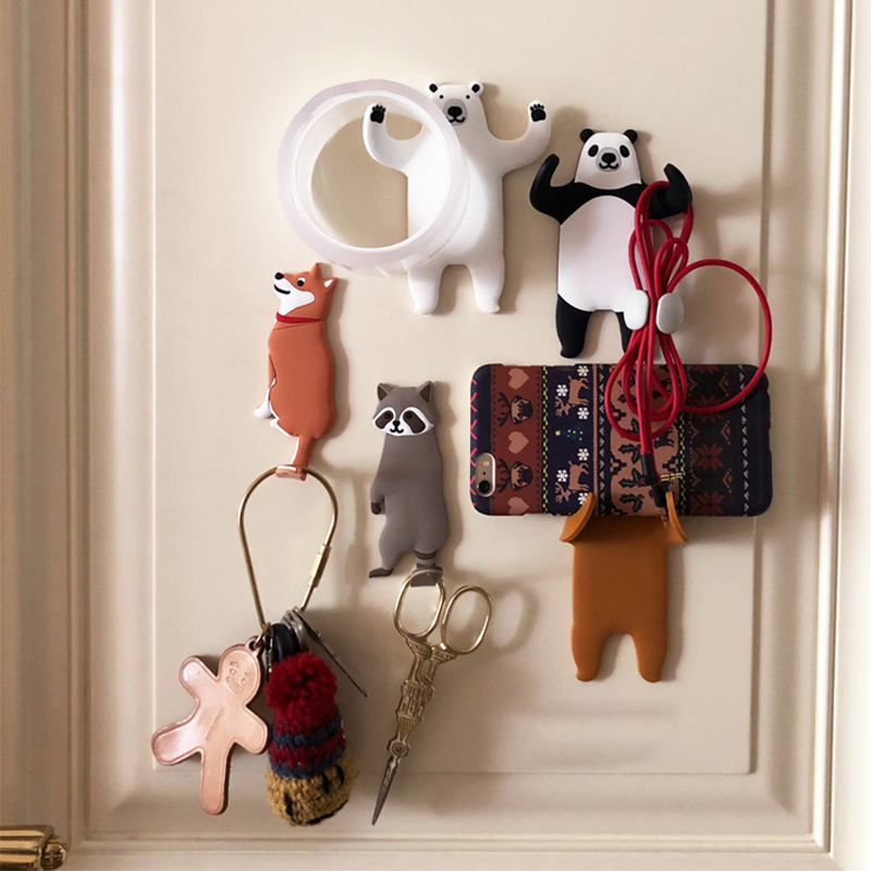 11pcs Animal Multi-Purpose Hooks Fridge Kitchen Hook Home Decoration Accessories Key Holder Wall Can Washed Holder Wall Hook