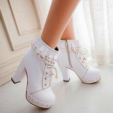SARAIRIS גבירותיי קרסול מגפי נשים נעלי תחרה מתוקה לוליטה יפה קוספליי גבירות פלטפורמת עקבים מגפי אישה בתוספת גודל 48