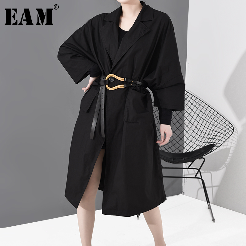 [EAM] Women Black Pocket Split Joint Big Size Trench New Lapel Long Sleeve Loose Fit Windbreaker Fashion Spring 2020 1R14901