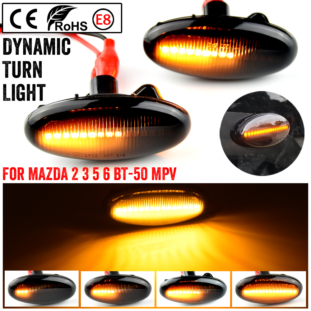 2 pieces Led Dynamic Side Marker Turn Signal Light Sequential Blinker Light For MAZDA 3 For MAZDA 2 5 MPV
