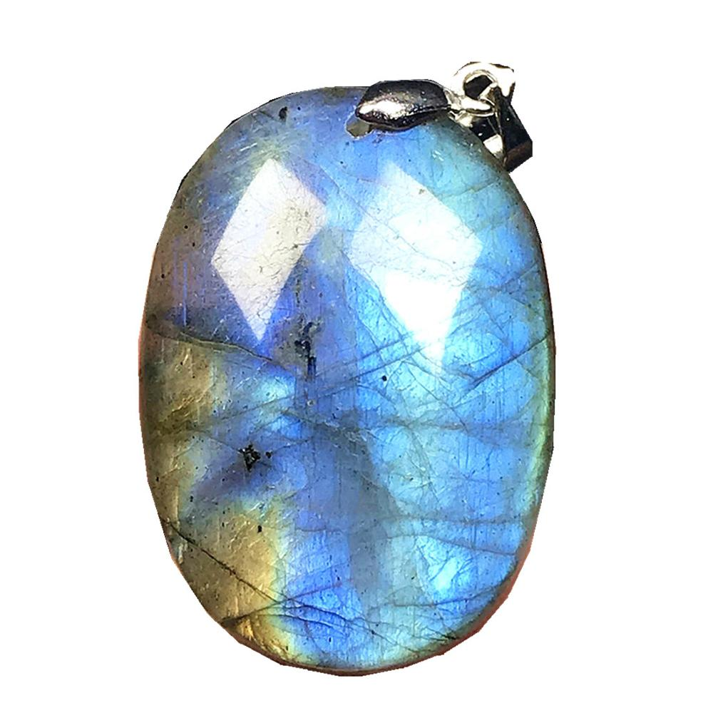 Necklace Pendant Natural Blue Light Labradorite Jewelry For Woman Lady Man Crystal Silver 31x22x6mm Moonstone Beads Stone AAAAA