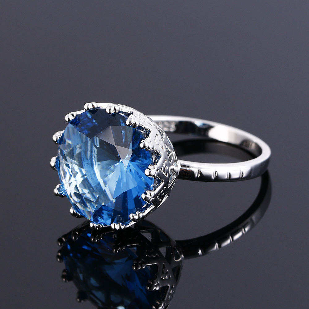 New Fashion 15MM Silver Rings For Women With Blue Aquamarine Stones 925 Silver Jewelry Ring Party Christmas Gift Size 6 7 8 9 10