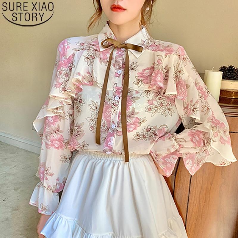 Floral Print Chiffon Shirts Women Cardigan Ruffles Blouses 2021 Autumn Puff Long Sleeve Korean Ladies Tops Blusas Mujer 10449 1