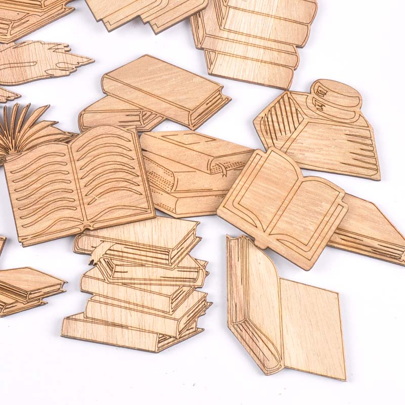 Mixed Book Pattern Wooden Crafts Scrapbooking 10Pcs Wood Ornaments For Decor Birthday Wedding DIY Arts Home Decoration M2553