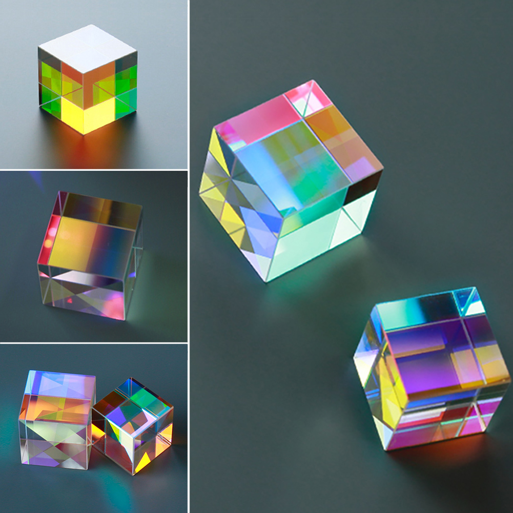 Rainbow Prism Optical Glass Six-Sided Bright Light Combine Cube Physics Teaching Refracted Light Spectrum Experiment Instrument