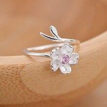 цены New Style Cherry Blossom Ring Women's Japanese Korean Silver Accessories Adjustable Set Purple  Ring Simple
