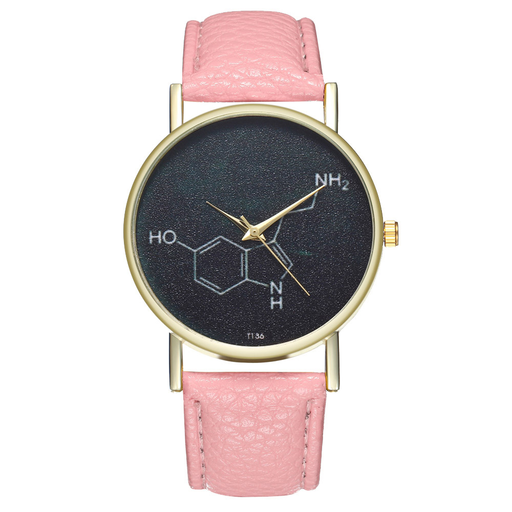 Students Casual Watches Chemical Molecule Round Dial Soft Leather Strap Watches Fashion Quartz Watches Gifts For  Women  LXH