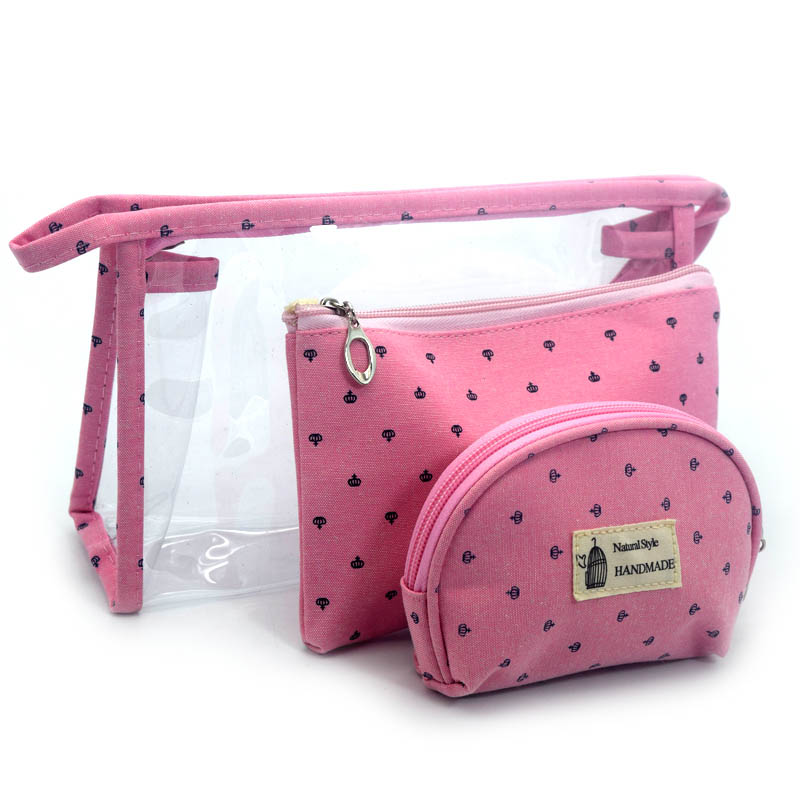 <font><b>3</b></font> <font><b>Set</b></font> Casual Women <font><b>Travel</b></font> <font><b>Cosmetic</b></font> <font><b>Bag</b></font> PVC Leather Zipper Make Up Makeup Box Organizer Storage Pouch Transparent Toiletry <font><b>Bags</b></font> image
