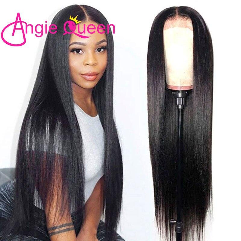 Cabelo reto 13x4 preplucked angie rainha 360 perucas frontal do laço do cabelo humano peruano 4x4 fechamento do laço peruca remy cabelo cor natural