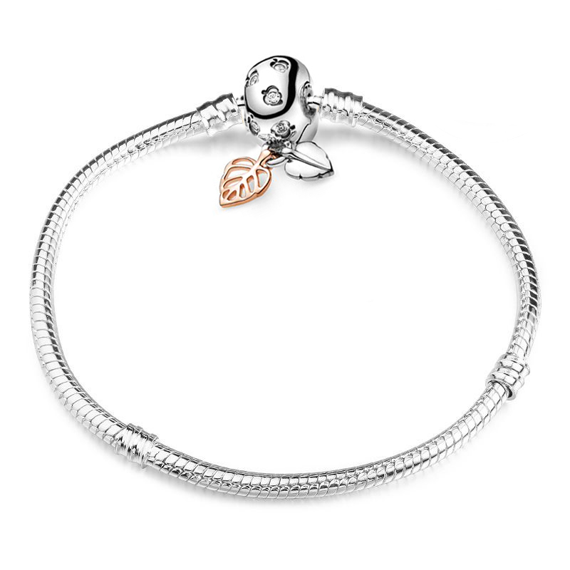 BAOPON High Quality Authentic Silver Color Snake Chain Fine Bracelet Fit European Charm Bracelet for Women DIY Jewelry Making 4