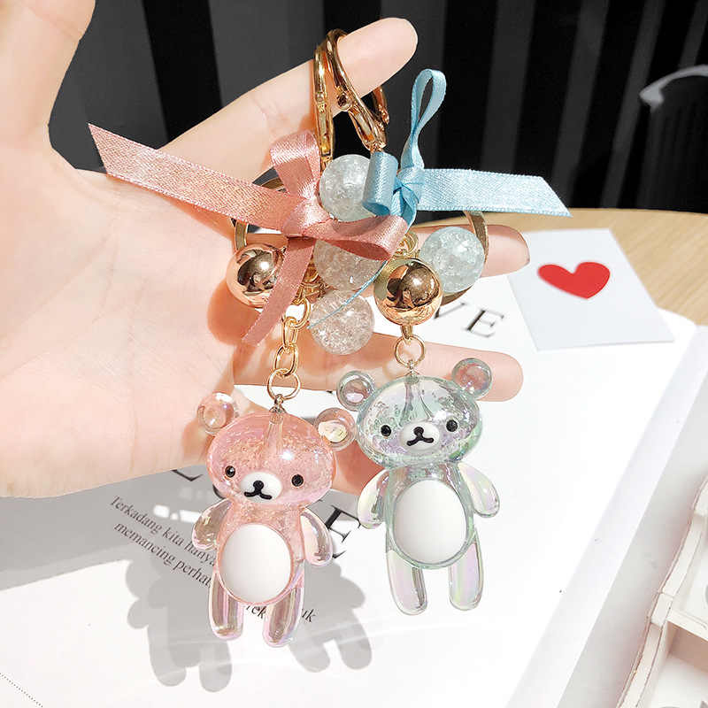 2019 Cute bear Doll Keychain Crystal Leather Wrist Rope Tassel Key Chain Bag Charm Pendant Cartoon couple bag silicone key ring