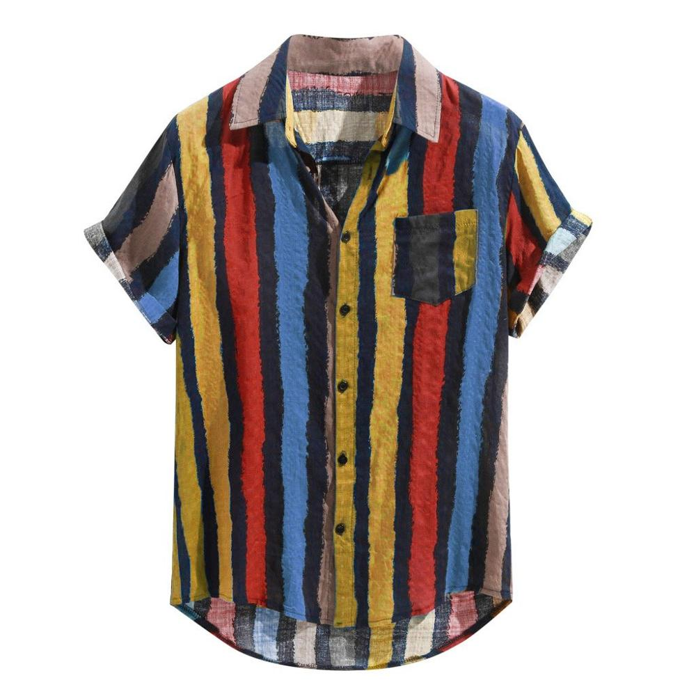 Summer Men Shirt Cotton Pocket Short Sleeve Turn-Down Collar Multi Color Stripe Lump Chest Round Hem Loose Shirts Chemise Homme