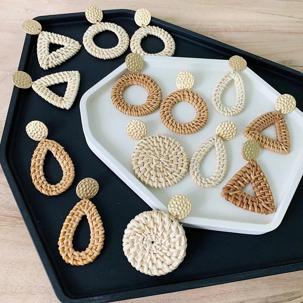 White Bead Drop Rotan Stud Earrings Handmade from Rattan 4cm Big Wheel 6cm Long