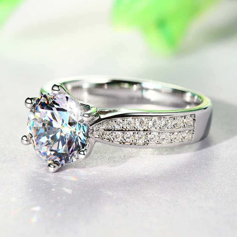 YANHUI 証明書と本物のオリジナル 925 固体シルバーリング女性の高級 3 カラットビックジルコニアダイヤモンド指輪ファインジュエリー R006