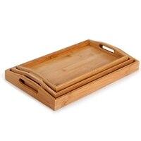 ABSS Rectangular Bamboo Tea Tray High Grade Hotel Home Furnishing Daily Fruit Tableware Bamboo Plate 1 Set Of 3