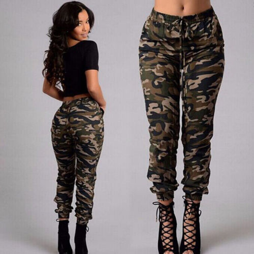 New Fashion Plus Size Womens Camouflage Army Skinny Fit Stretchy Jeans Jeggings Trousers 2XL Streetwear