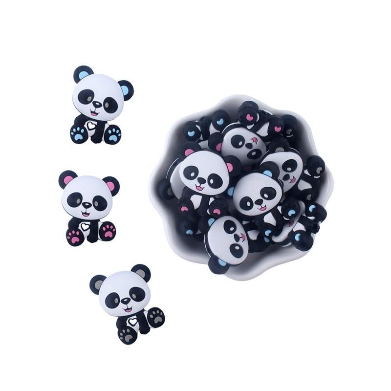 5Pcs Cartoon Mini Panda Teething Silicone Beads DIY Pacifier Clip Chain Pendant Rodents