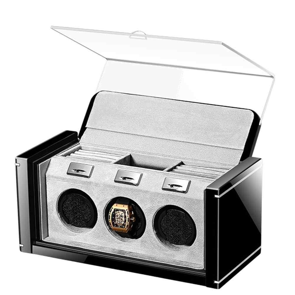 Caja enrolladora de reloj automático caja de enrollado de reloj mecánico caja de almacenamiento de lujo caja de Motor silencioso de tres cabezas caja de 3 ranuras