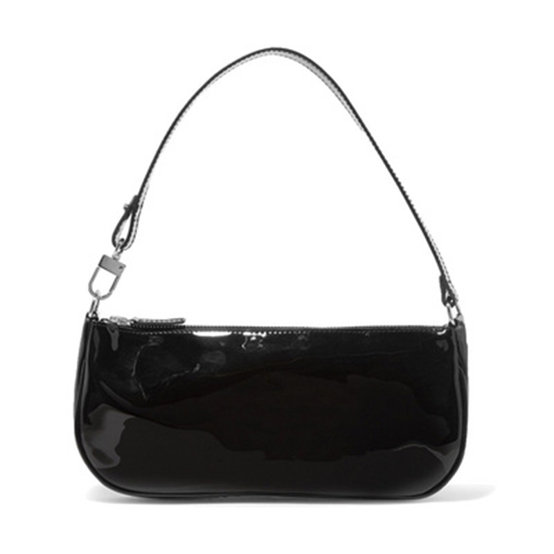 Jollque Shoulder-Bags Purse Clutch Baguette-Bag Crocodile Leather Small Black Designer