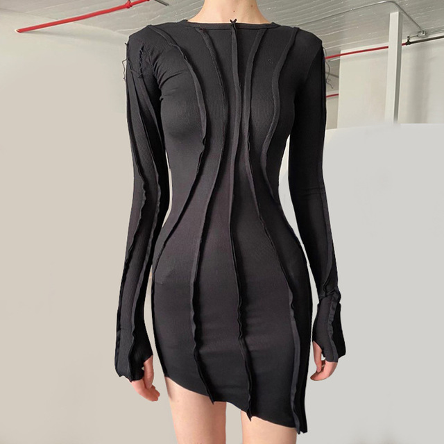 BOOFEENAA Asymmetric Black Bodycon Dresses for Women Clothes 2020 Fashion Sexy Ribbed Knitted Long Sleeve Mini Dress C95-CB31 3