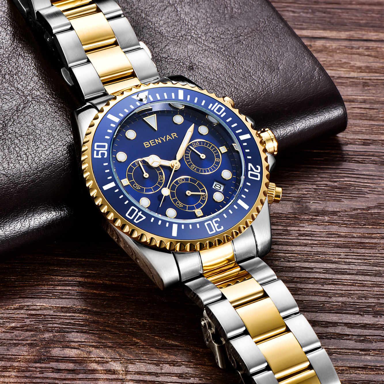 BENYAR 2020 hommes décontracté Sport montre haut marque de luxe armée militaire hommes montre-bracelet en acier inoxydable horloge Relogio Masculino