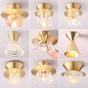 Home light porch balcony light modern minimalist American golden light luxury corridor aisle light led glass ceiling light