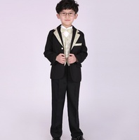 Fashion black Boys 2 pcs/set Wedding Suits for Boy Formal Dress Suit Boys wedding suit Kid Tuxedos Page boy Outfits 2 15year