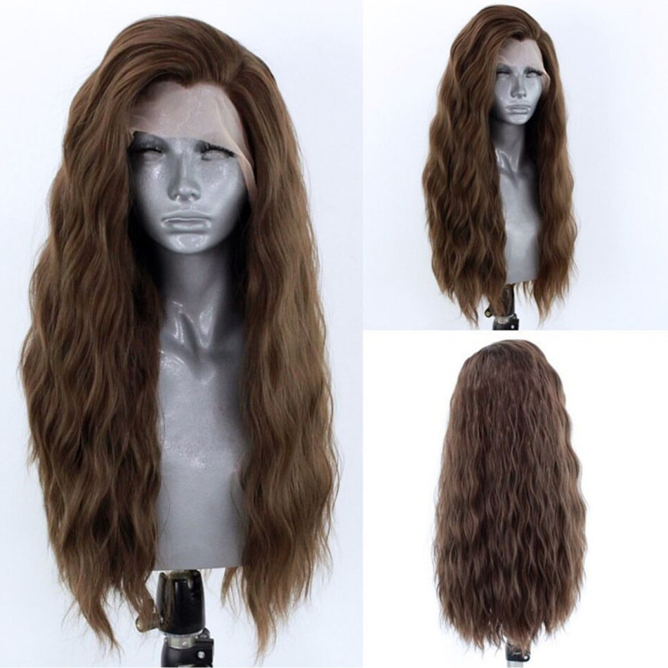Marquesha Fashion Natural Curly Synthetic Lace Front Wig Brown Lace Front Wig For Women Makeup Wigs