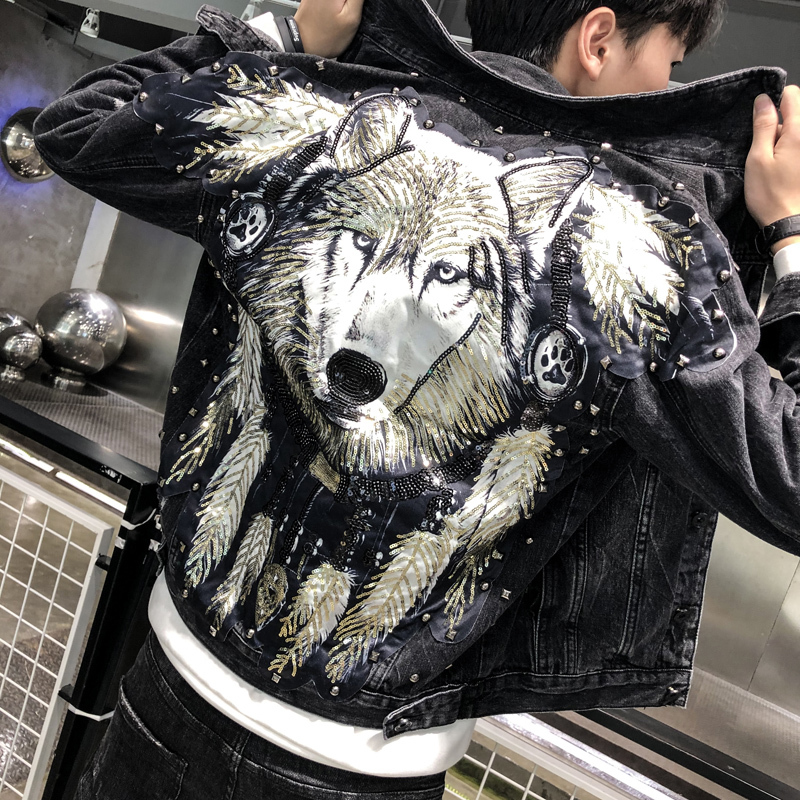 Autumn Man Tide Brand Wolf Cowboy Clothes Punk Sequins Wolf Denim Jacket Men Streetwear Ripped Hole Jeans Jacket Brand Coat Male