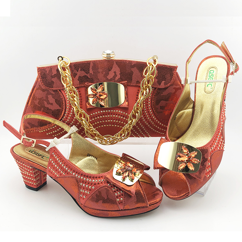 Free shipping coral 3 inches heel italian shoes and bag matching set for african aso ebi big party 2020 new fashion SB2022-5