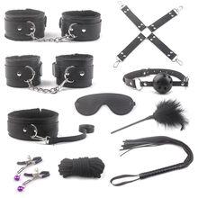 Brinquedos eróticos para adultos, produtos sexy de couro bdsm, escravo, conjunto de mãos, grampos de mamilos, corda de chicote, mordaça, brinquedos sexuais para casais