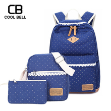 3pcs/set Women SCHOOL Backpack For Girls Purses And Shoulder Bag Canvas Waterproof Schoolbag children bag girl gift
