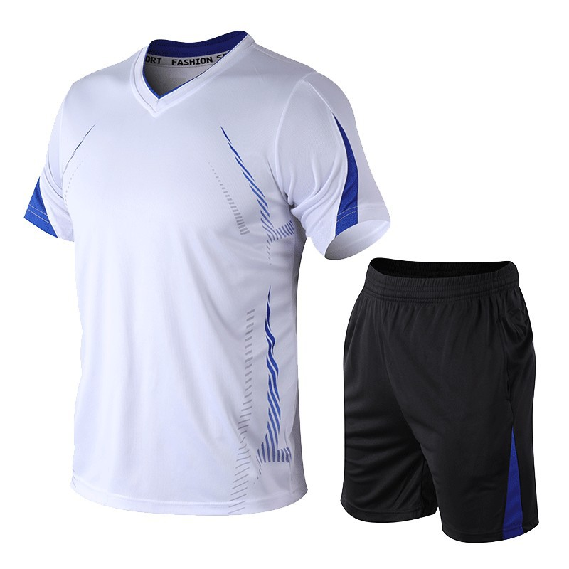 2020 Men Sports Suit Morning Run Sports Big Code Leisure Short Sleeve Five Points Shorts Fitness Two-piece Set