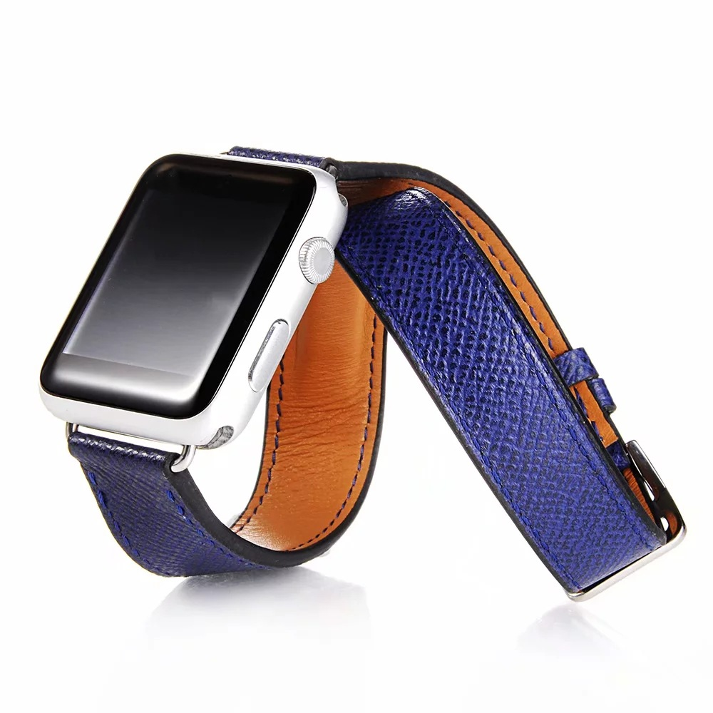 Suitable For APPLE Watch1234 S Watch Strap Hermes Double Coils Bracer Watch Strap Full-grain Leather Watch Band