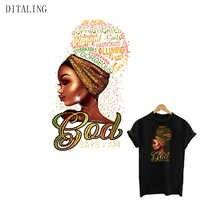 Parches de niña africana para ropa, Dios dice que I Am, transferencia de hierro para ropa, hermosa niña negra, pegatinas para camiseta lavables DIY