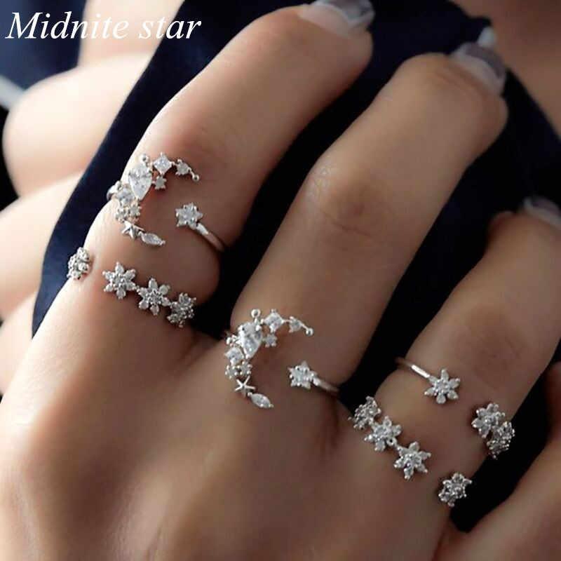 สตรี Vintage งานแต่งงานเทศกาล Star Moon ชุดแหวนคริสตัลแหวนชุดผู้หญิงรักแหวนชุด 2019 ใหม่