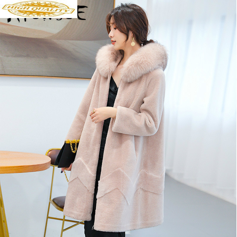 100% Wool Jacket Women's Real Fur Coat Hooded Autumn Winter Coat Women Fox Fur Collar Manteau Femme 9506 YY1966