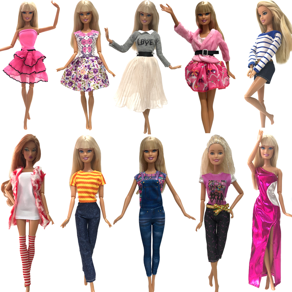 NK New 1x Doll Dress Daily Wear Skirt Pants Vest Casual Jeans Dollhouse Outfit Clothes For Barbie Doll Accessories G10 JJ