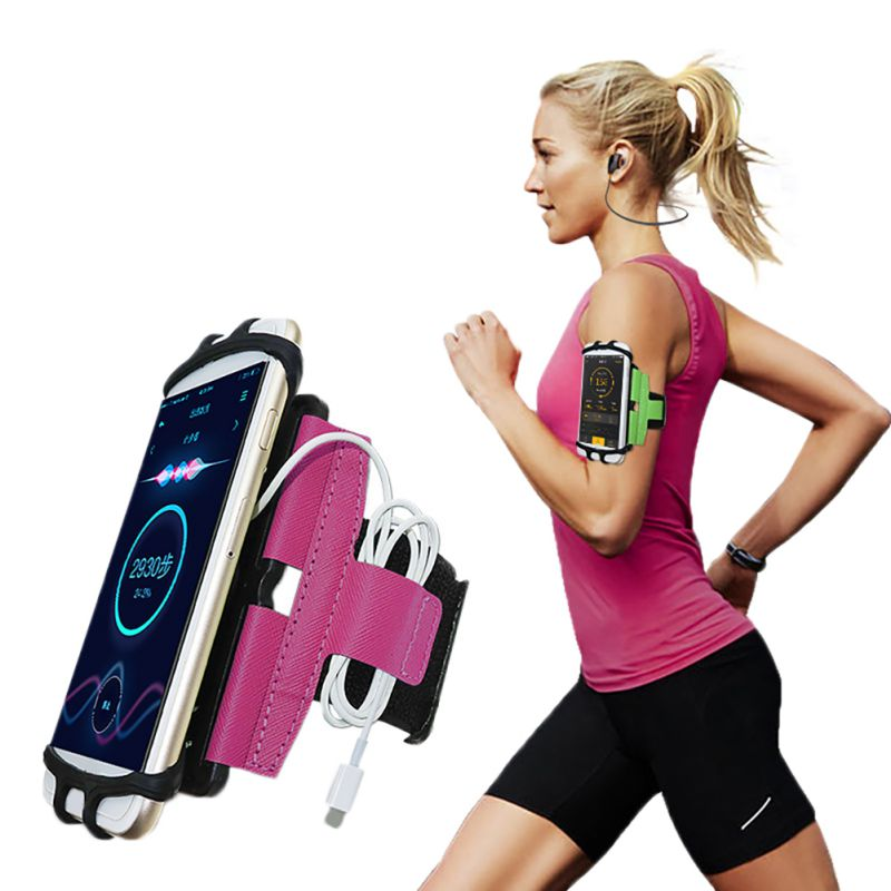 180 Degree Rotatable Running Bag Belt Men Women Armband Touch Screen Cell Phone Case Holder Cycling Gym Arm Band Bag 4-6 Inch