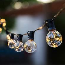 25 футов патио светильник строки Рождество G40 Глобус гирлянда лампа Фея струнный светильник Открытый вечерние сад ac220в Гирлянда Свадебный де...