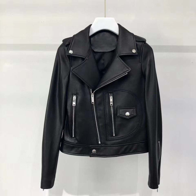 Fashion new coat women spring genuine leather jacket 2020 turn-down collar clothing long sleeve M-3XL size slim coats solid