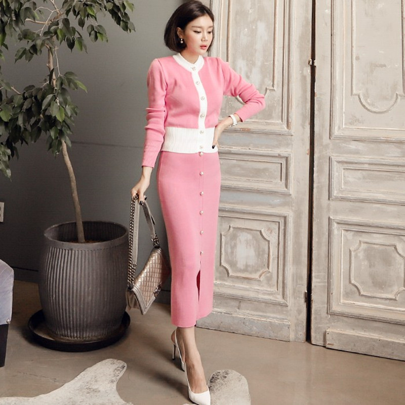 Women Autumn Pink/Black Colorblock O-Neck Single Pearl Breasted Knit Cardigan +Elastic Split Long Skirt Set OL Elegant Work Work
