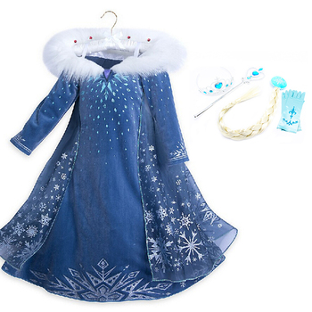 Elsa Dress For Girls Cinderella Dress Girls Party Dresses Easter Carnival Costume For Girls Princess Dress Kids Clothing Blue