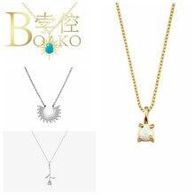 BOAKO kolye 925 ayar gümüş takı turkuaz kadınlar için 2020 yıldız Cadena Plata moda gerdanlık Amber