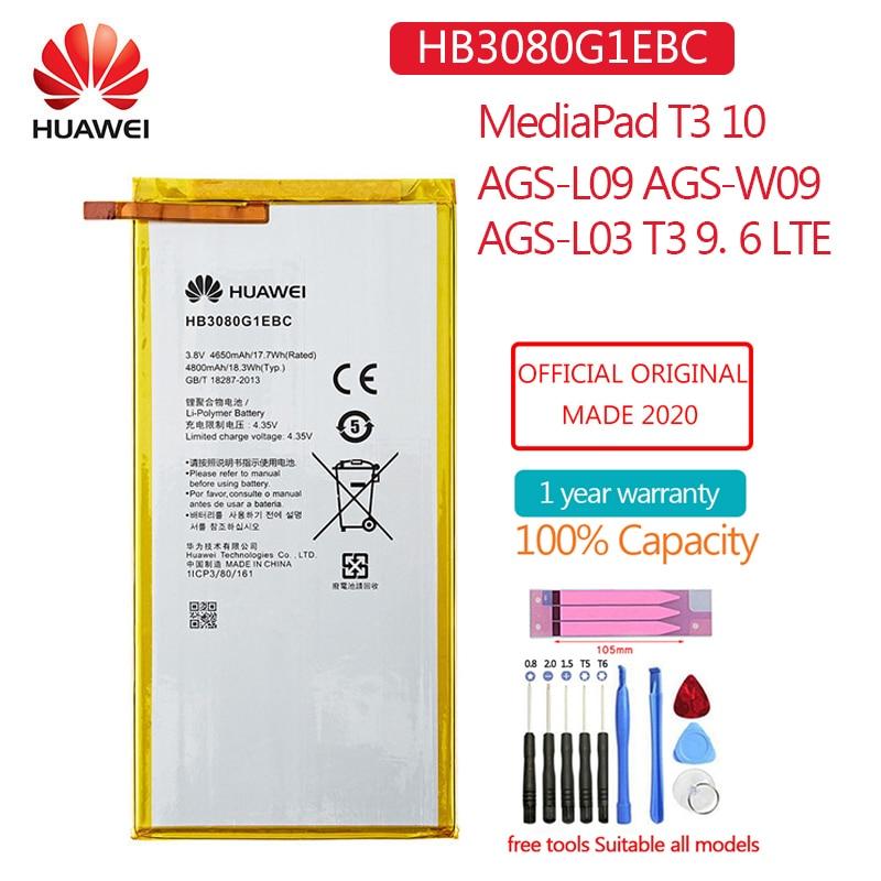HB3080G1EBW新オリジナルバッテリー4650のためのhuawei社mediapad T3 10 AGS-L09 AGS-W09 AGS-L03 T3 9.6 8.0インチlteタブレット電池