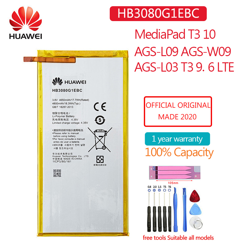 Hb3080g1ebw nova bateria original 4650mah para huawei mediapad t3 10 AGS-L09 AGS-W09 AGS-L03 t3 9.6 8.0 polegada lte tablet baterias