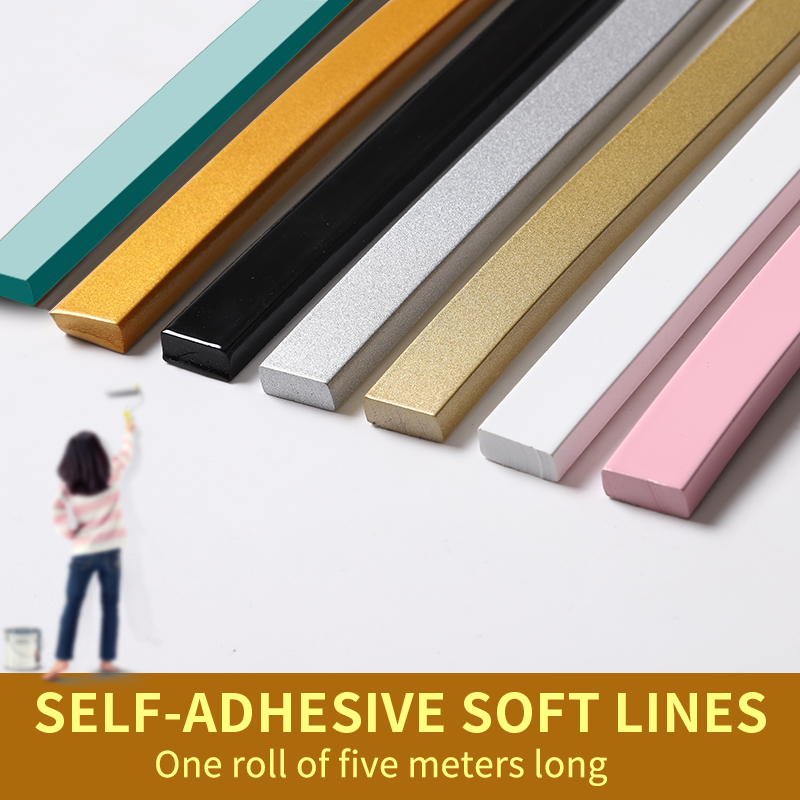 European Pvc Decorative Soft Line Self-adhesive Waterproof Anti-corrosio Ceiling Line Mirror Edge TV Background Wall Border