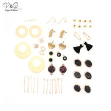Newest DIY Handmade Jewelry Making Tassel Frange Simulated Pearl Glitter Beaded Charms Pendants Black Drop Earring Set DIY-136(China)